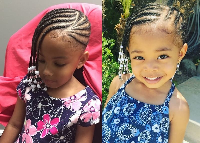 side swept cornrow hairstyles for little girls