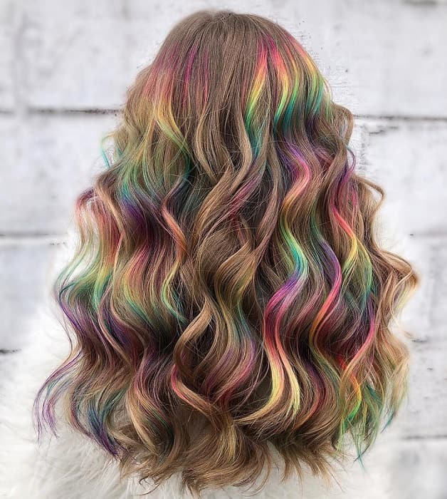 long rainbow balayage hairstyles for girls