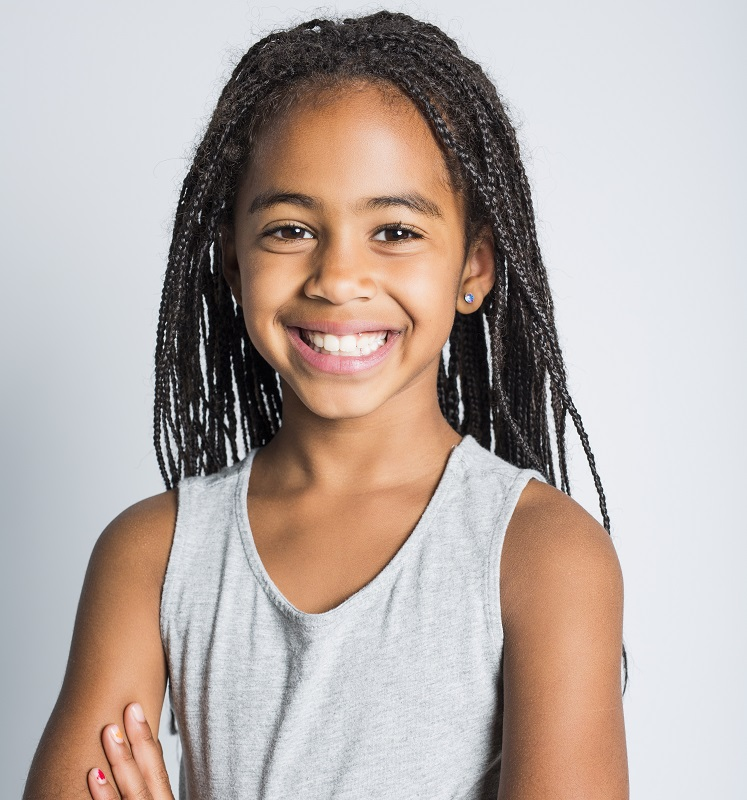 10 year old Afro girl with long braids