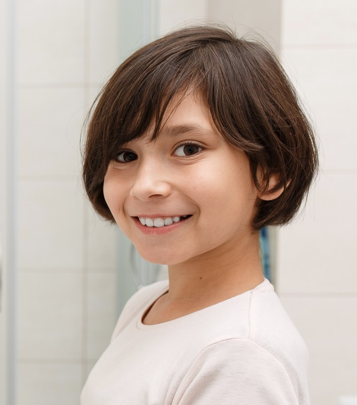 little girl with layered bob