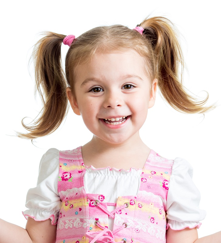 little girl's pigtails with layered hair