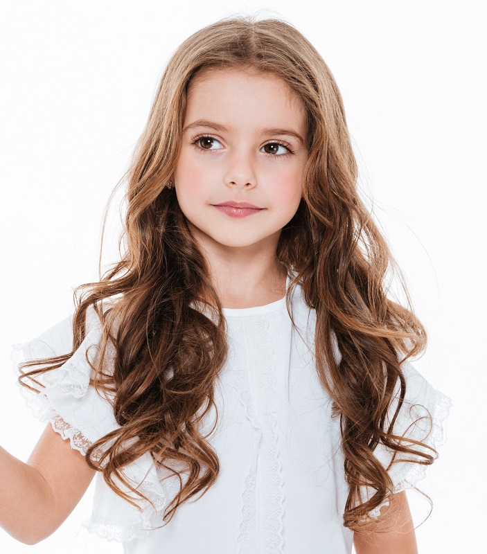 little girl's thick layered hair