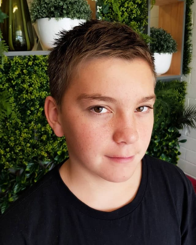 14 year old boy with crew cut