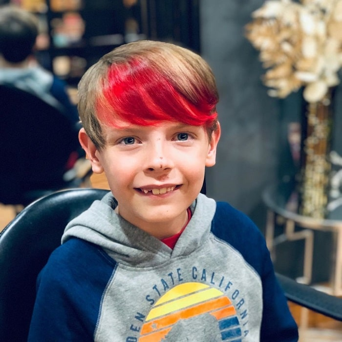 6 year old boy hair with red highlights