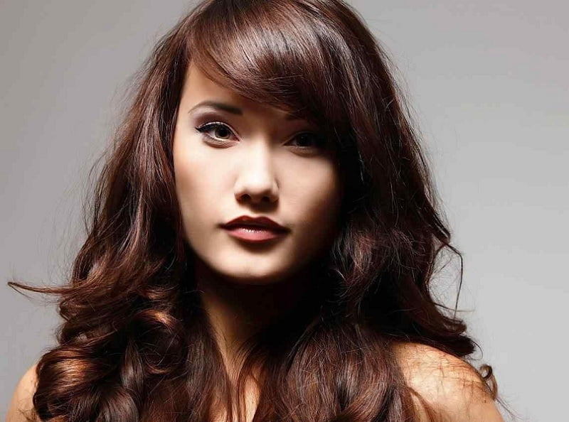 Asian girl with brown hair