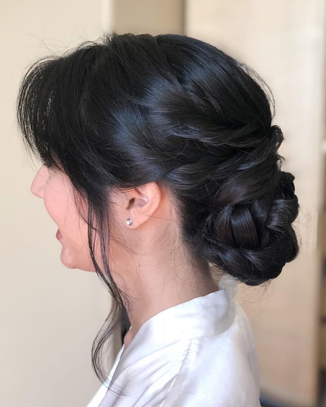 braided bun hairstyle for asian girls