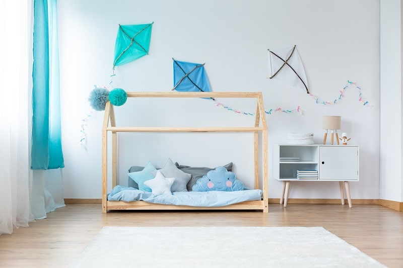 blue and white baby boy room