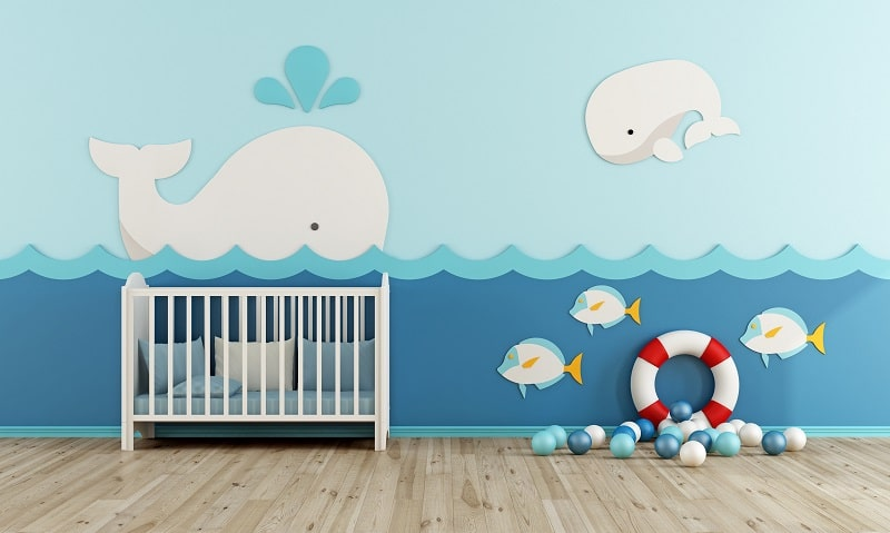 baby boy room ideas with ocean blue and white