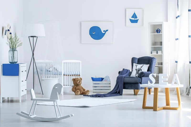 blue and white themes baby boy room ideas