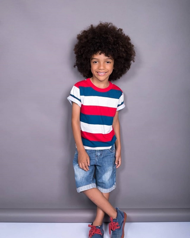 black boy with thick curly hair