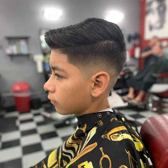 textured comb over haircut for boys