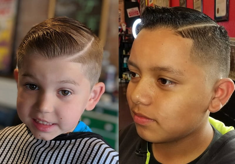 boys hard part with comb over