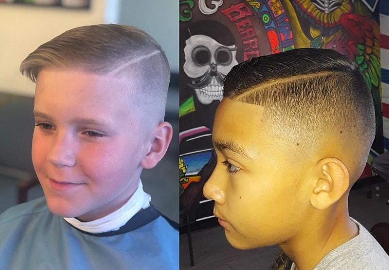 hard part haircut with skin fade for boys