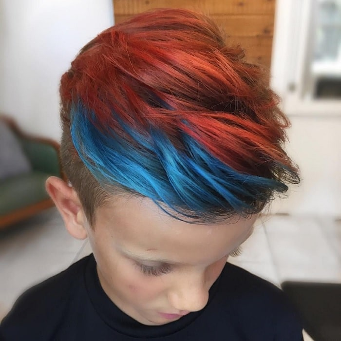 boy's undercut with colors