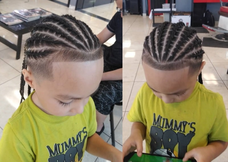 cornrow with fade for boys