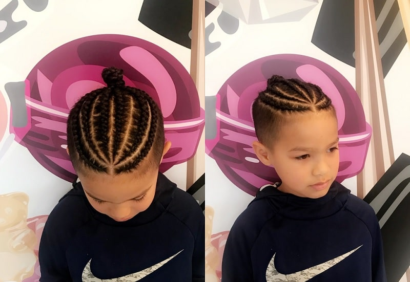 cornrow bun for boys