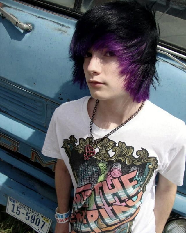 emo boy hair with purple tips