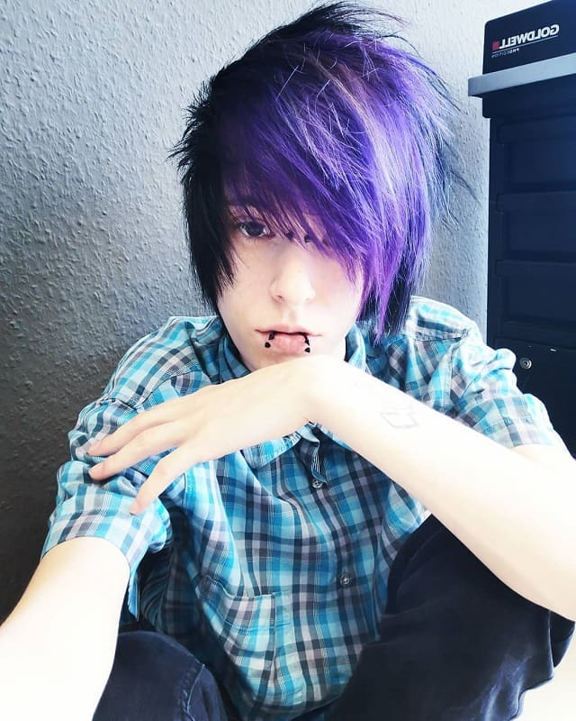 emo boy with dark purple hair