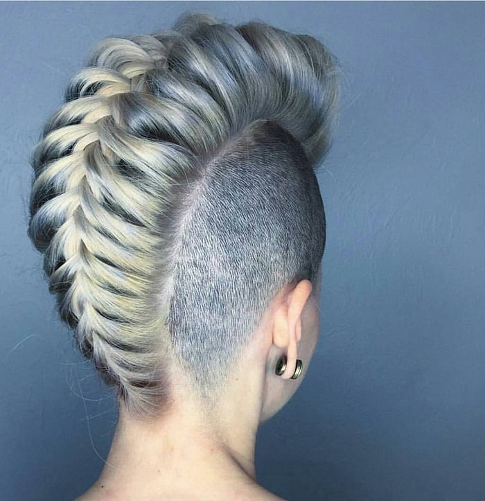 girl with braided mohawk