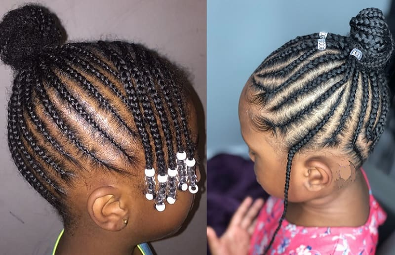 little black girl with cornrow