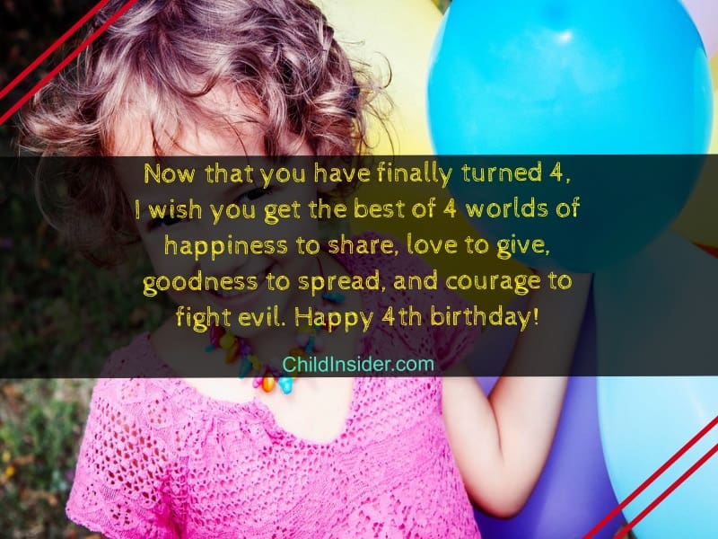 4th birthday messages for girl