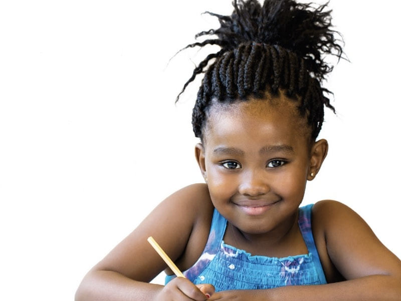 black girl kid with braided ponytail