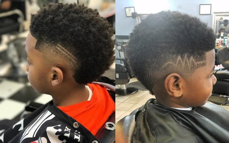 little black boy mohawk with design
