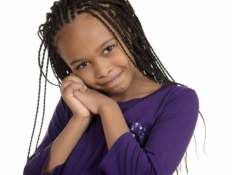 little black girl with thin braids