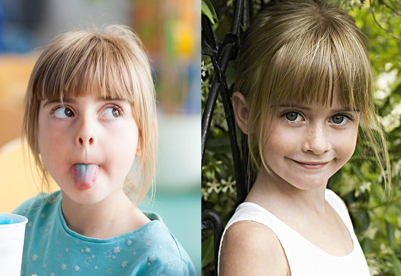 little girl with long bangs