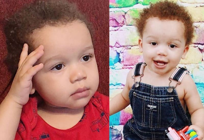 mixed baby boy with short curly hair