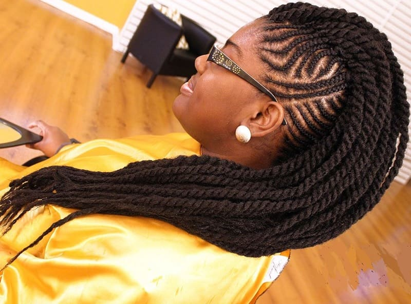 black girl with cornrow mohawk hairstyle