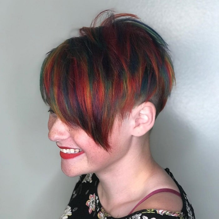 long bangs with colorful short hair