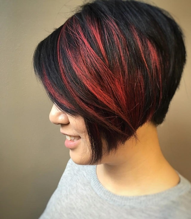 short black hair with bangs and highlights