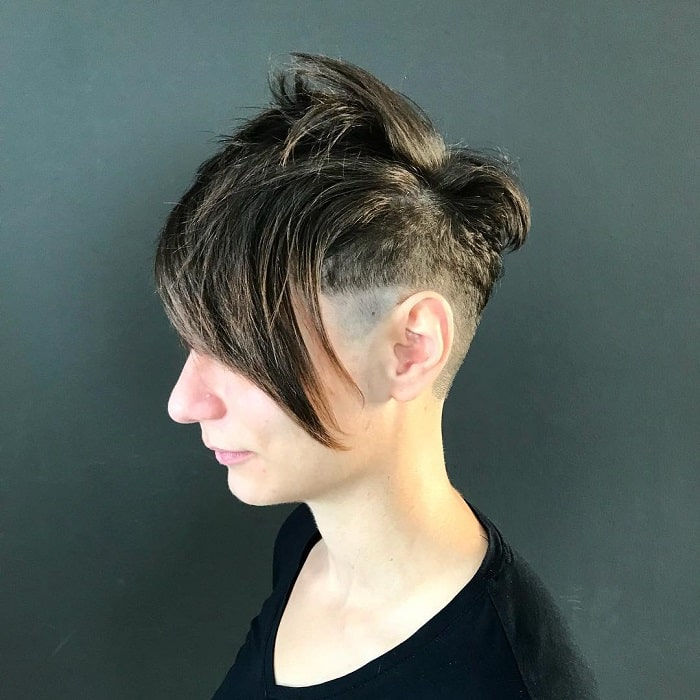 cropped short hair with long bangs