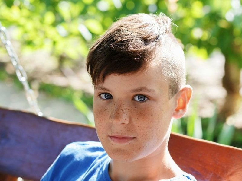 teen boy with short hairstyle