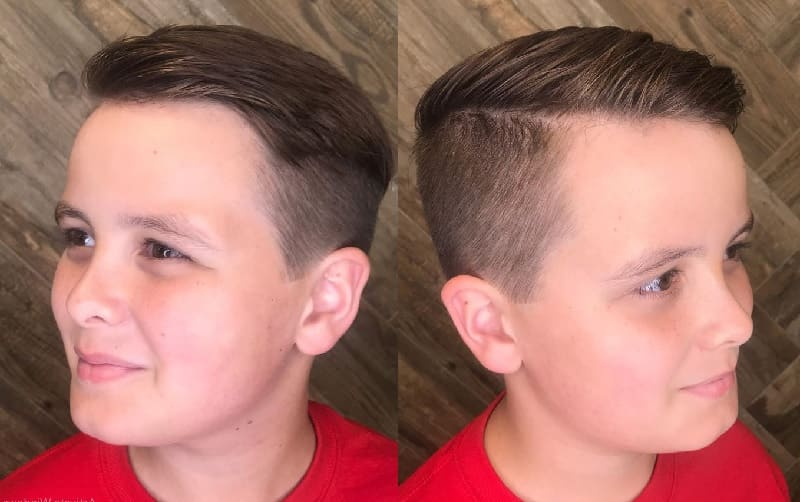 12 year old boy with side swept hair