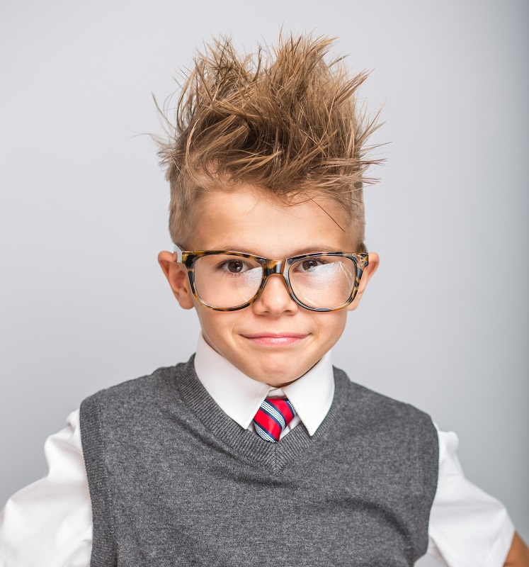 8 year old boy with messy hairstyle