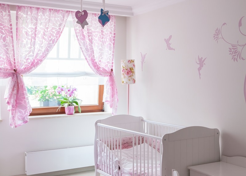 baby girl nursery with shades of pink