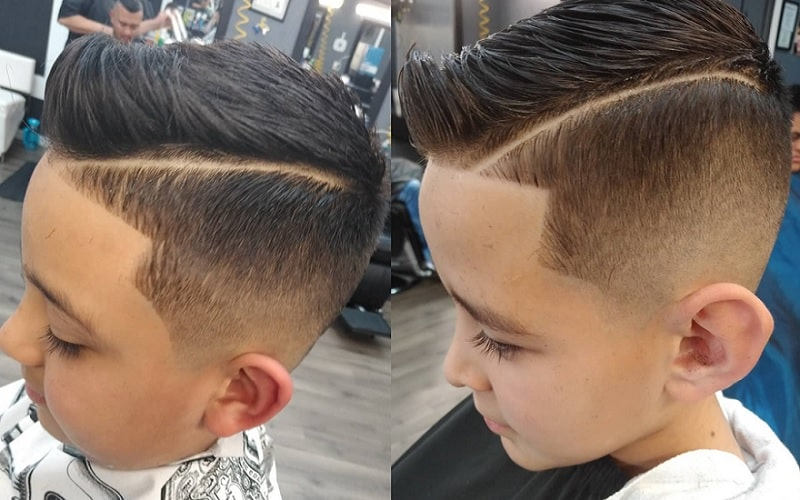 boys fade haircut with strong line