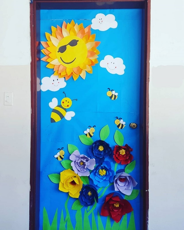 spring themed door decoration for school