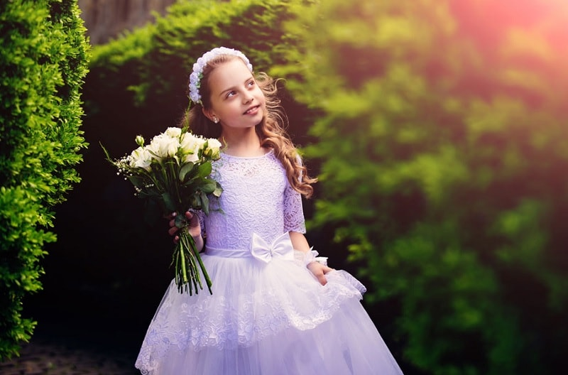 puffy skirt and bow dress for flower girl