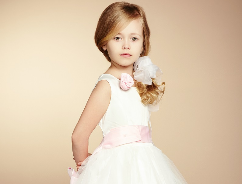 white and pink dress for flower girl