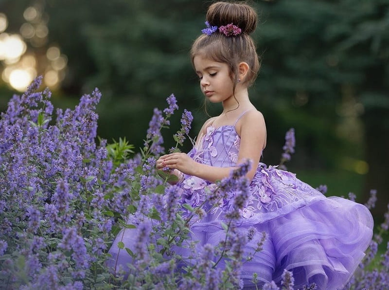 purple dress for flower girls