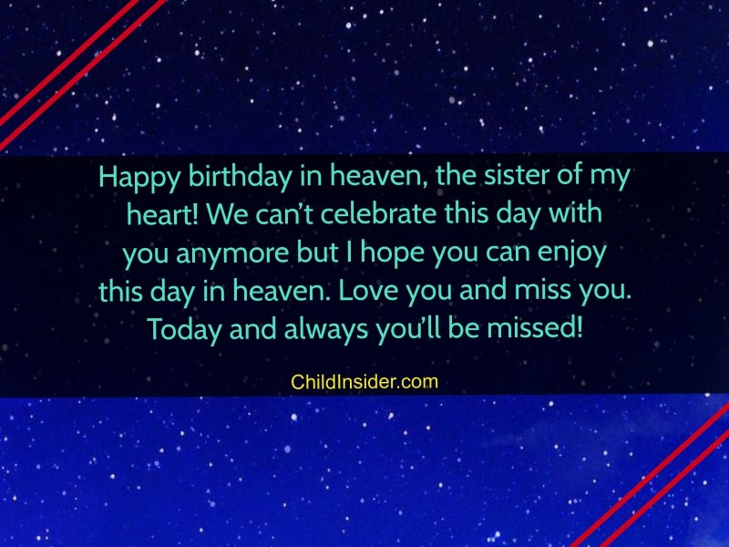 birthday wishes for sister in heaven