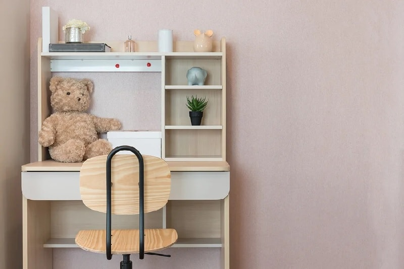 kids desk ideas with multiple shelves