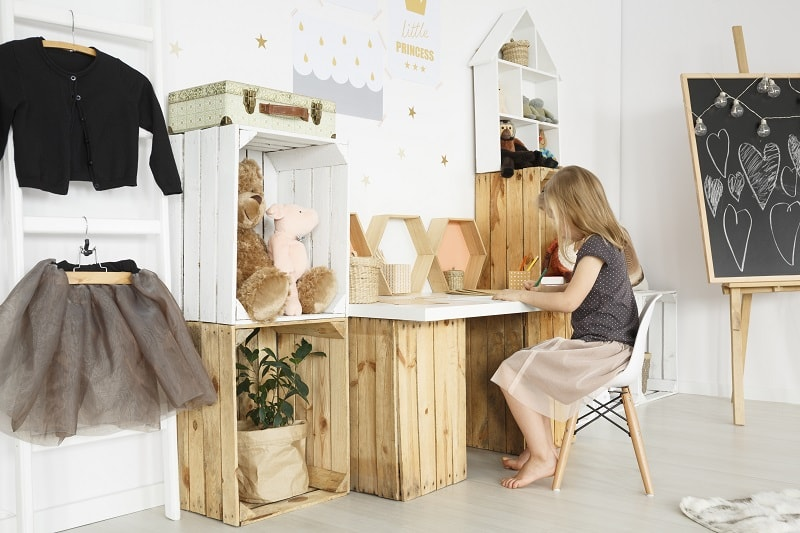 kids desk ideas with side storage