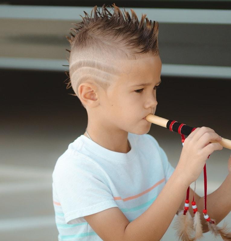 little boy's mohawk with design