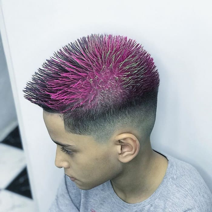 pink dyed hairstyles for boys with short hair