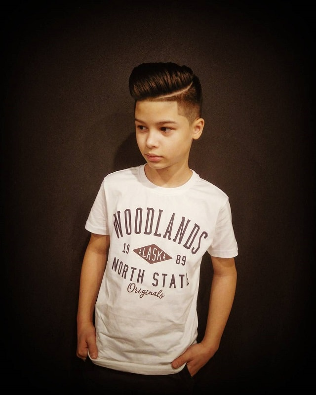 side pompadour with hard part hair for hipster boys