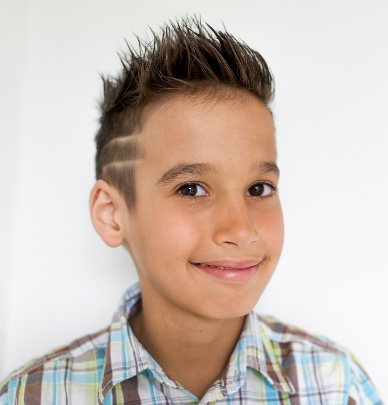 mixed boy's spikey hairstyle